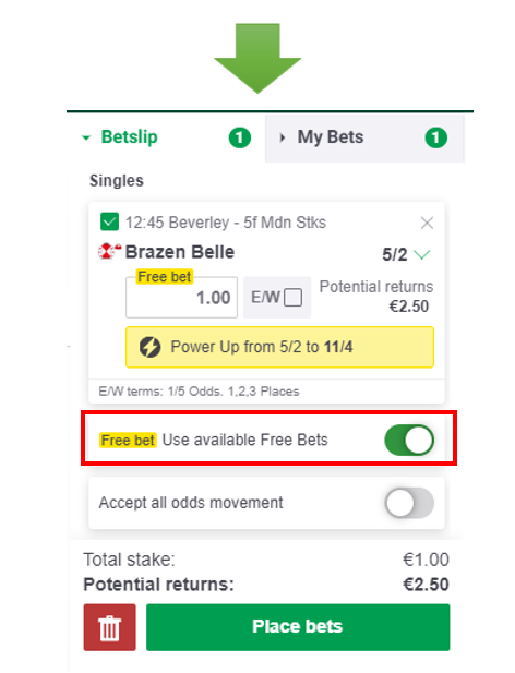How do i get my free bet on paddy power horse track betting payouts explained